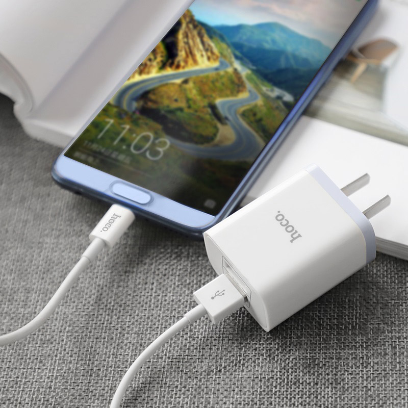 hoco c50 luster sharp dual port charger set type c 3c phone