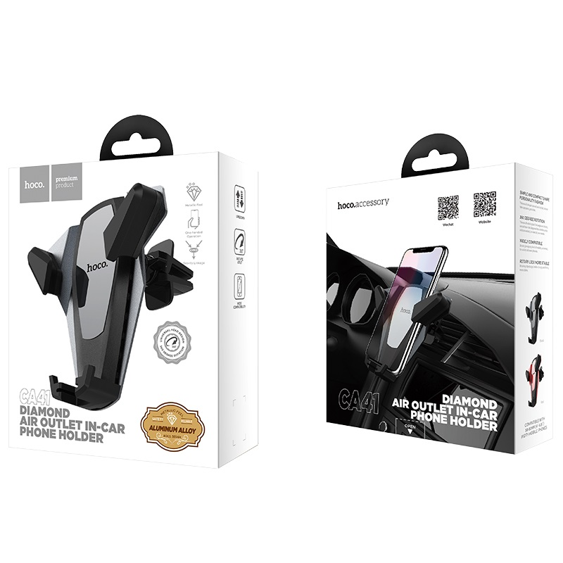 hoco ca41 diamond air outlet in car phone holder package