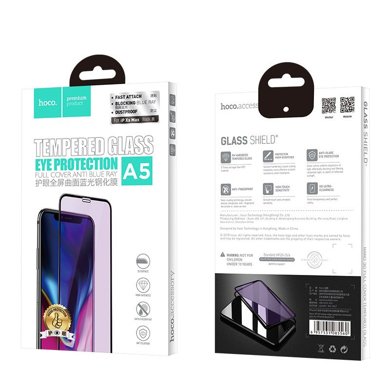 hoco new 3d quick adhesive anti blue ray tempered glass for a5 iphone xr package