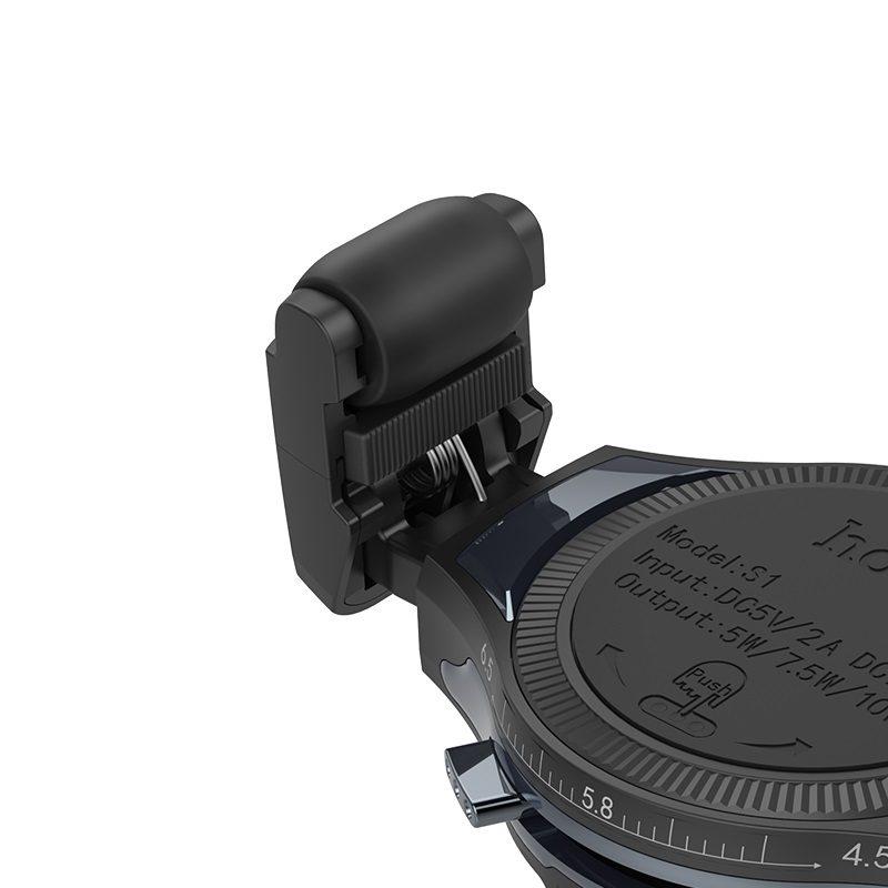 hoco s1 автомобильный держатель телефона с беспроводной зарядкой ролик