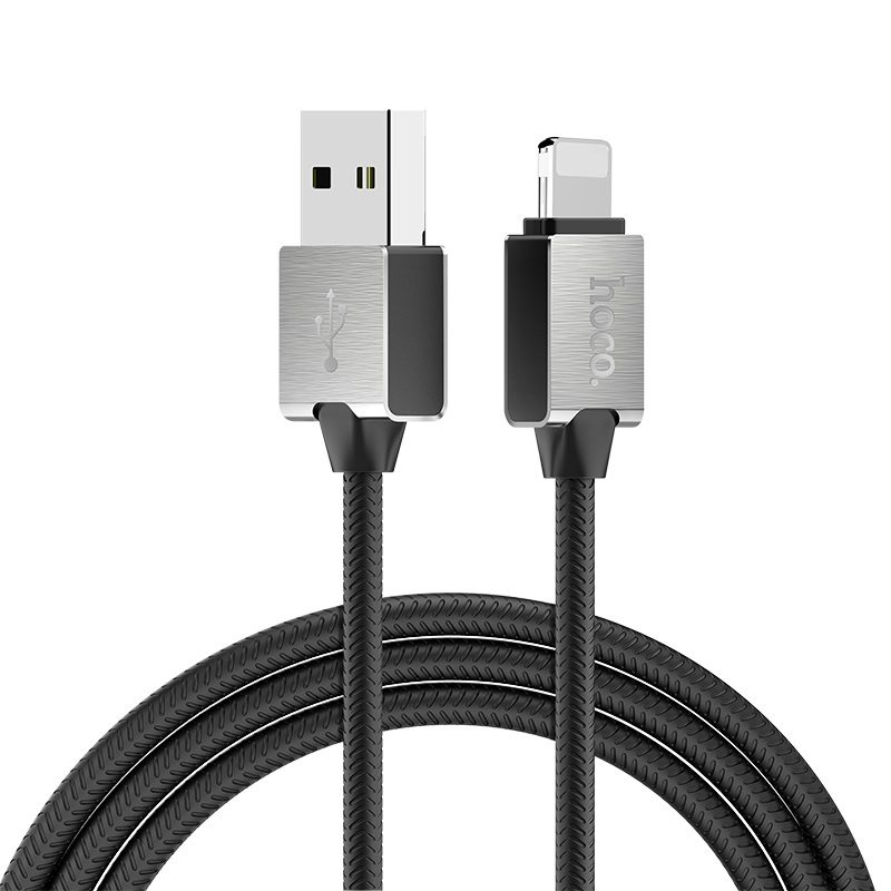 hoco u49 refined steel charging data cable for lightning overview