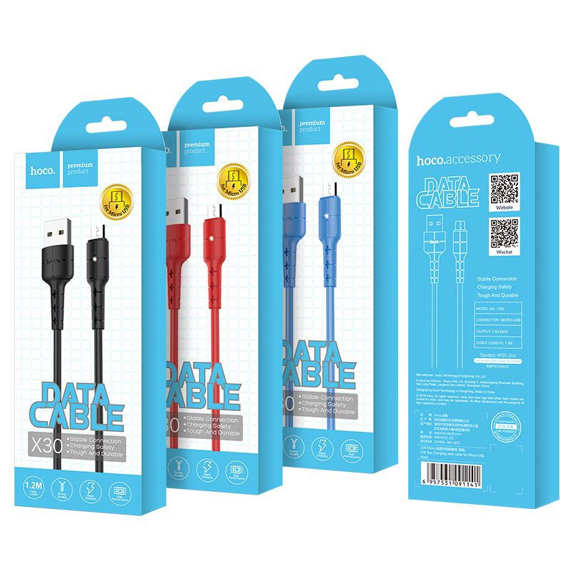 hoco x30 star charging data cable for micro usb package