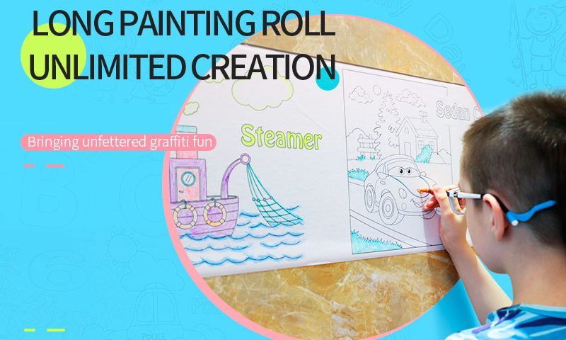 children painting roll paper bannner en