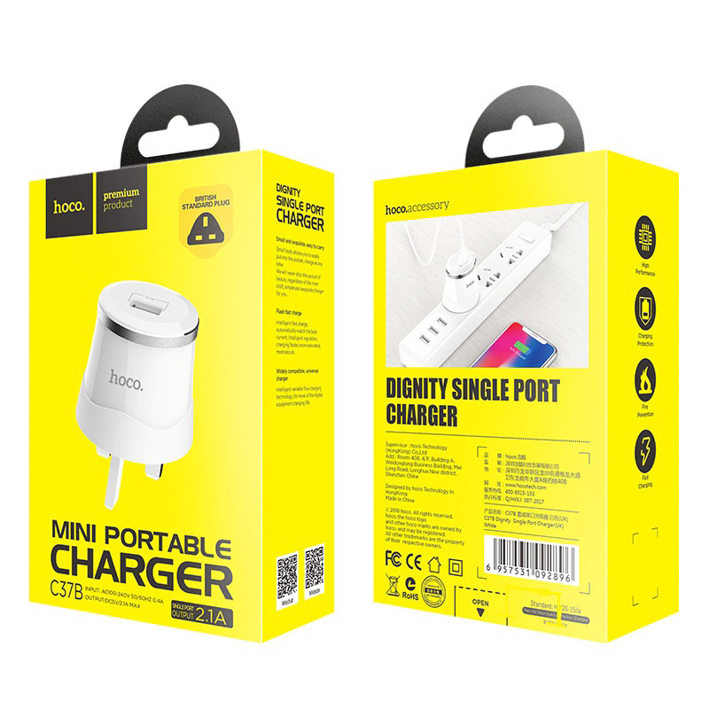 hoco c37b dignity single port charger uk package