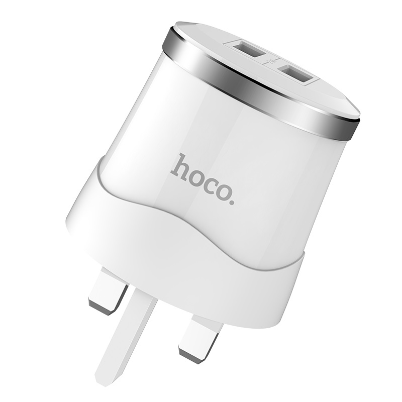 hoco c38b dignity dual usb port wall charger uk plug logo