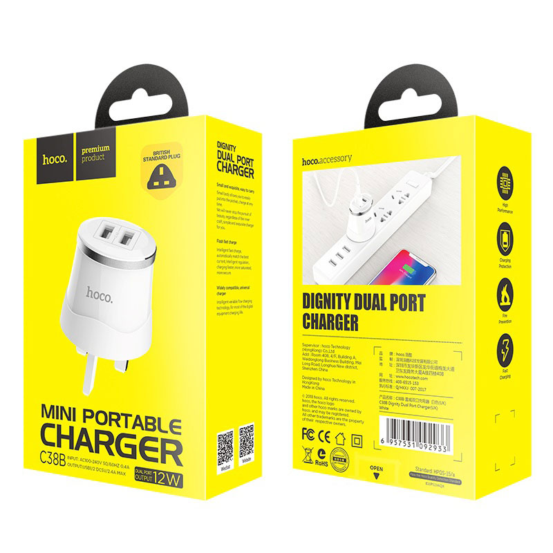 hoco c38b dignity dual usb port wall charger uk plug package