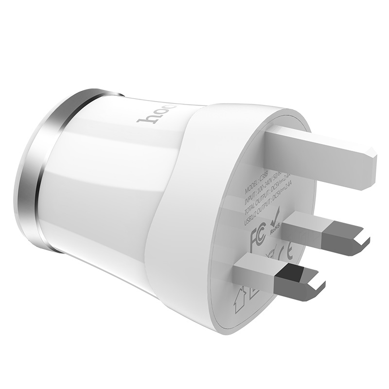 hoco c38b dignity dual usb port wall charger uk plug pins