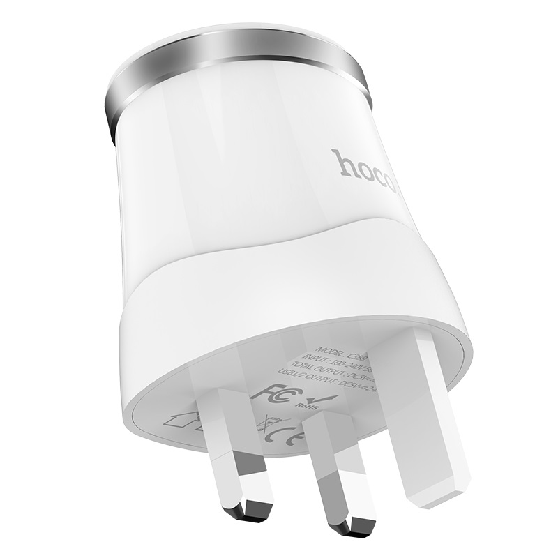 hoco c38b dignity dual usb port wall charger uk plug