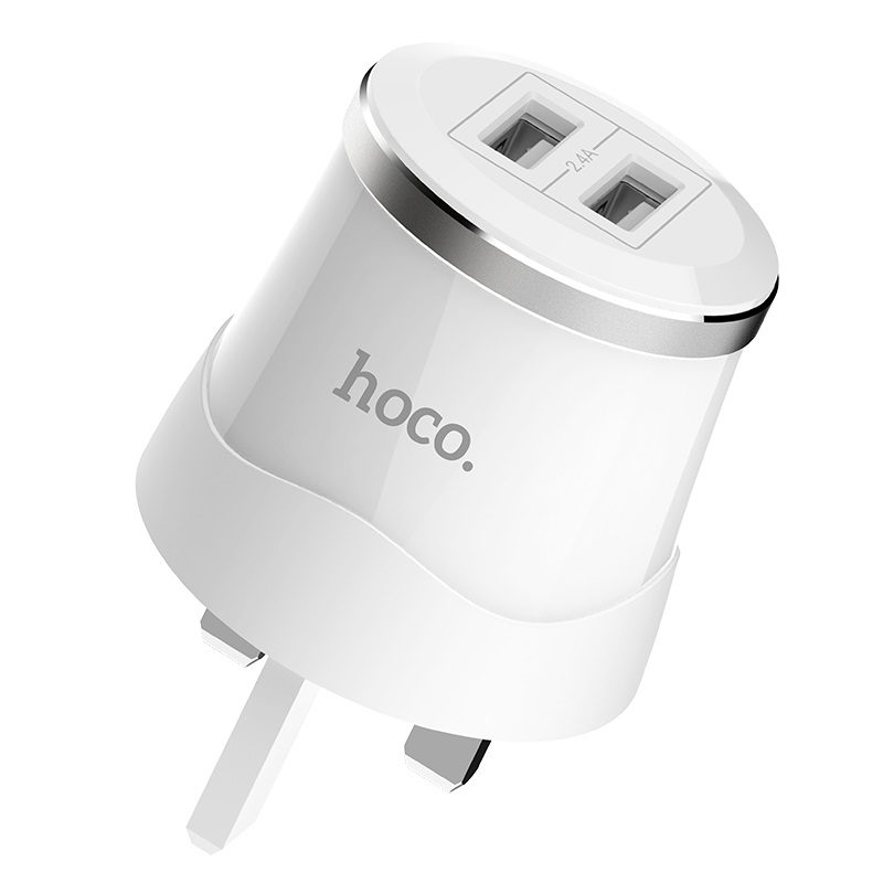 hoco c38b dignity wall charger uk plug dual usb port