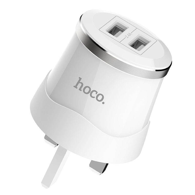 hoco c38b dignity wall charger uk plug dual usb port
