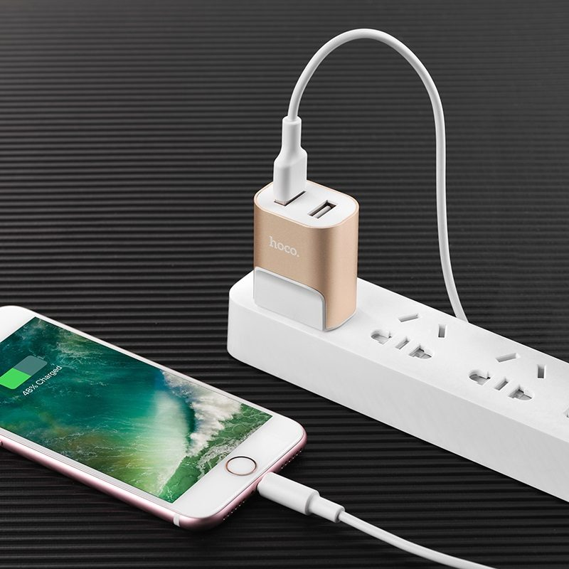 hoco c47 metal dual port charger us plug charging