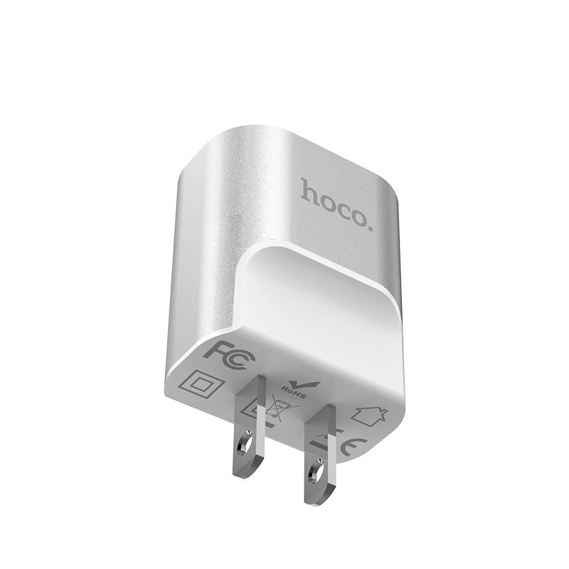 hoco c47 metal dual port charger us plug logo