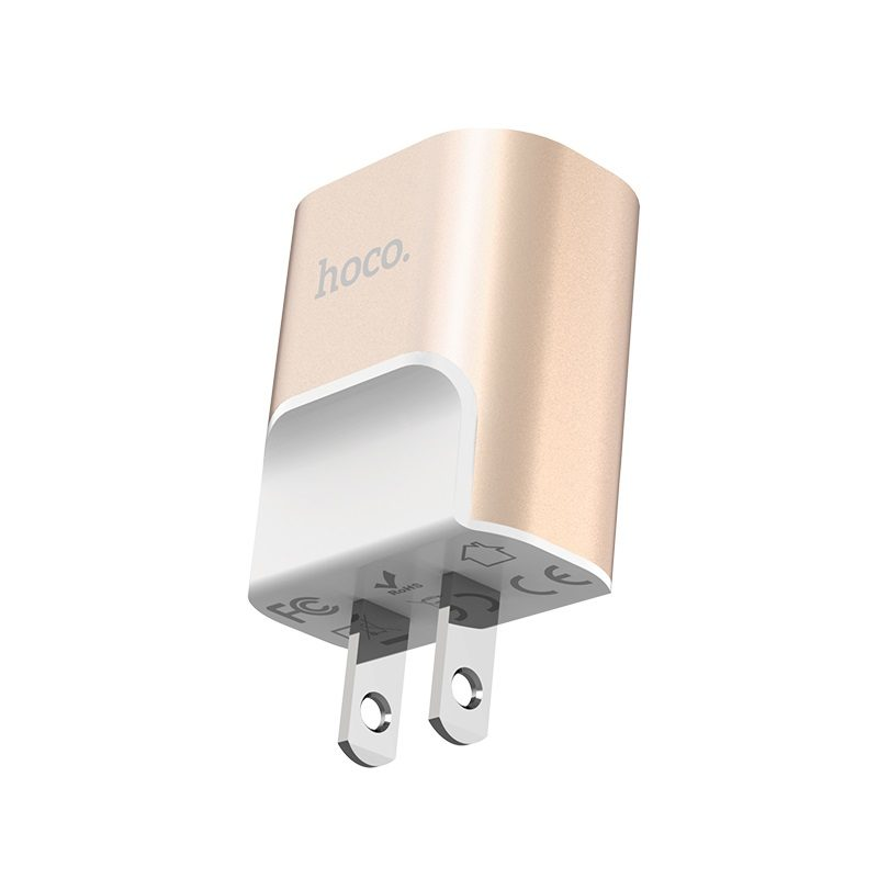 hoco c47 metal зарядное устройство с двумя usb портами us штекер