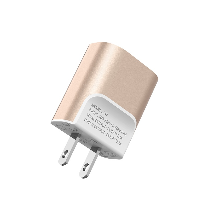hoco c47 metal dual port charger us plug specs
