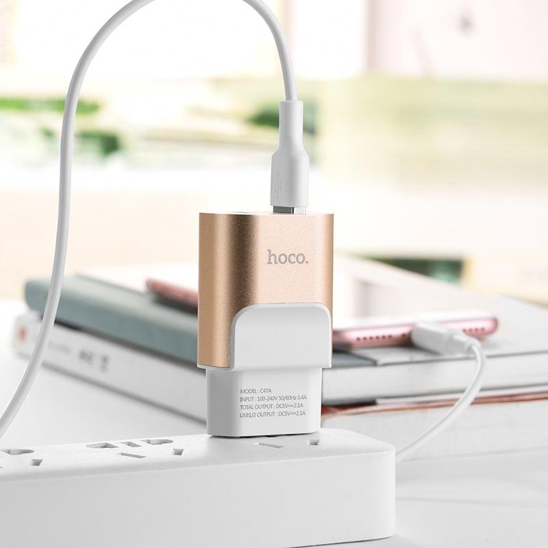 hoco c47a metal dual port charger eu plug charging