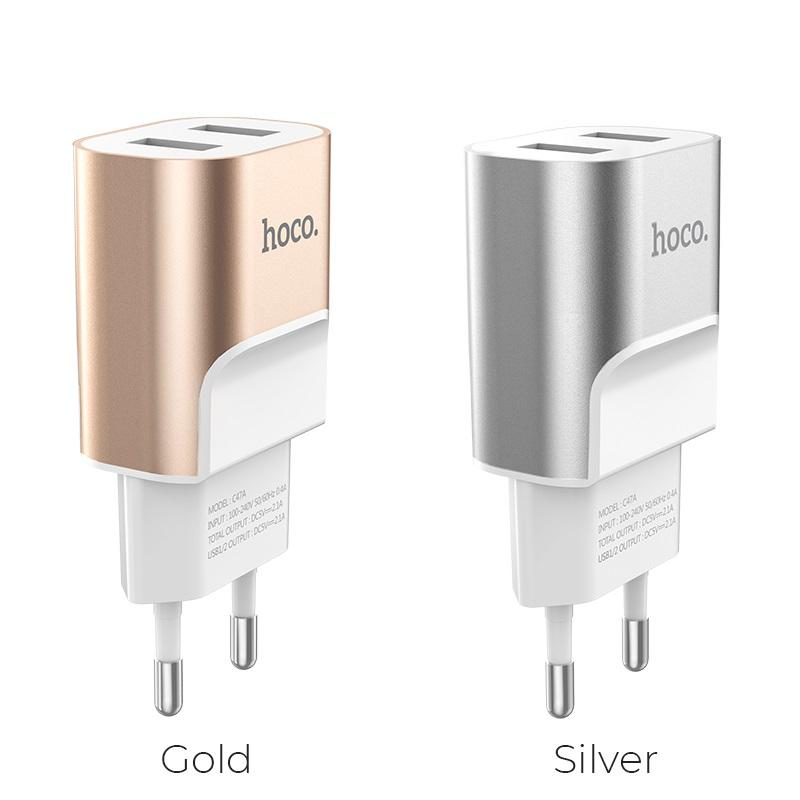 hoco c47a metal dual port charger eu plug colors