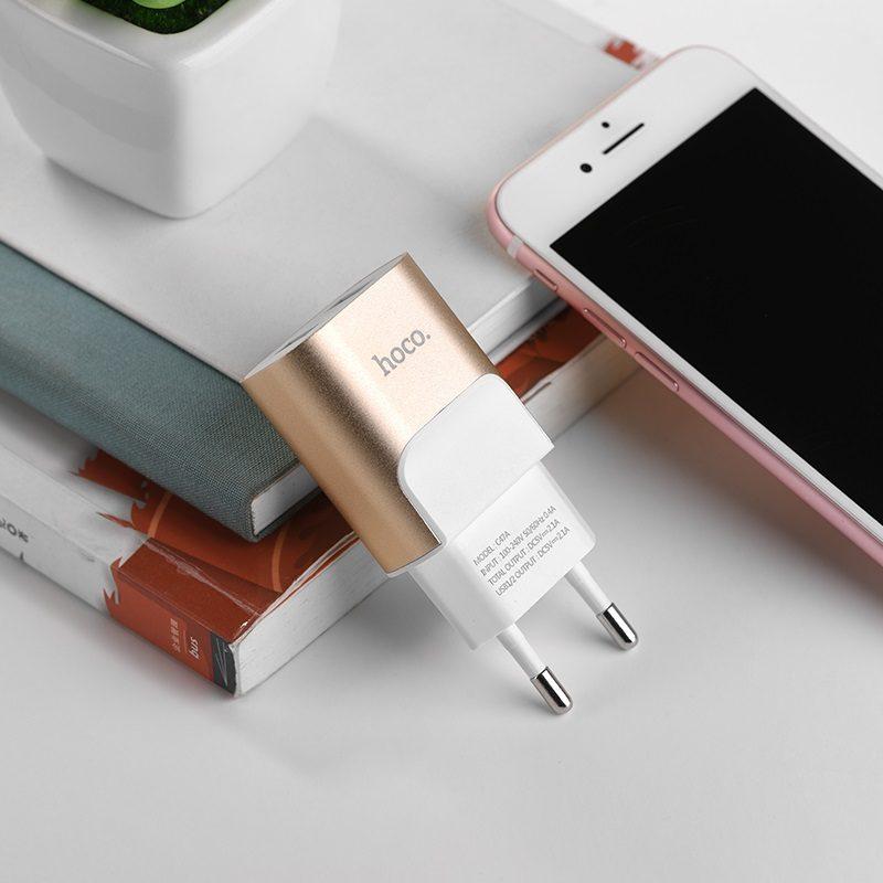 hoco c47a metal зарядное устройство с двумя usb портами eu интерьер золото