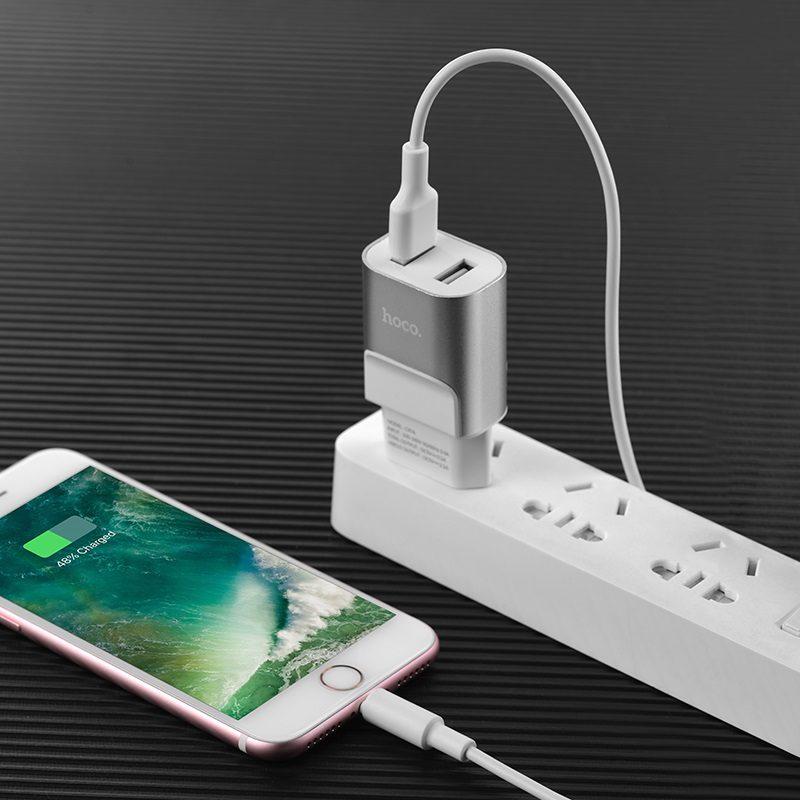 hoco c47a metal зарядное устройство с двумя usb портами eu айфон