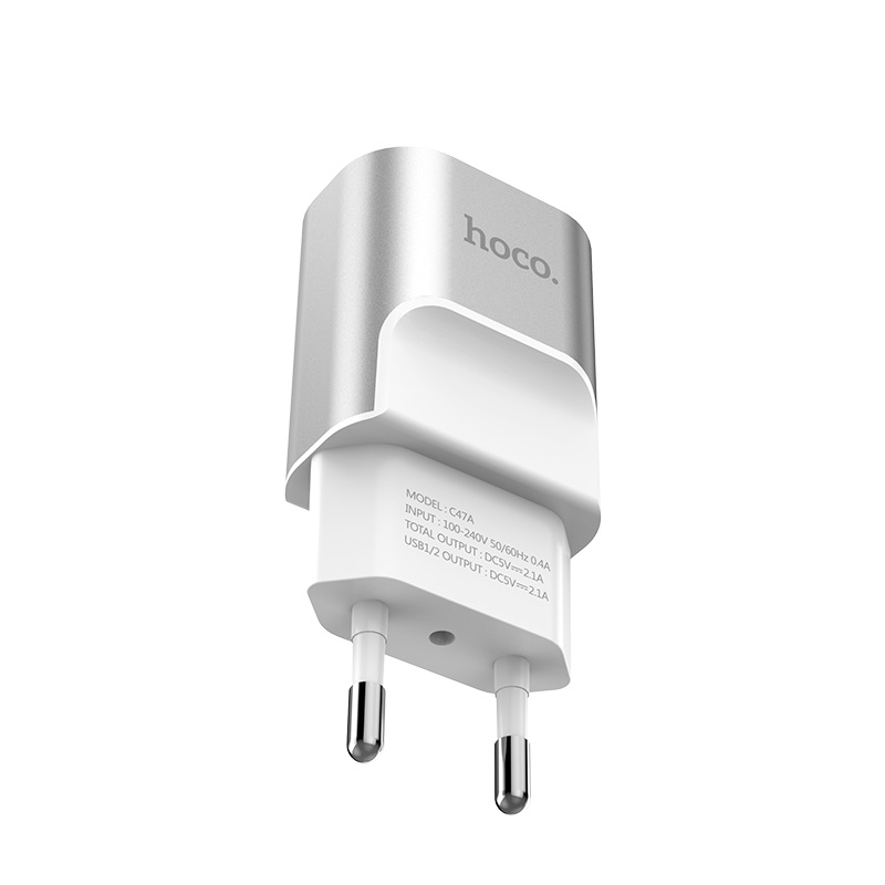 hoco c47a metal dual port charger eu plug pins