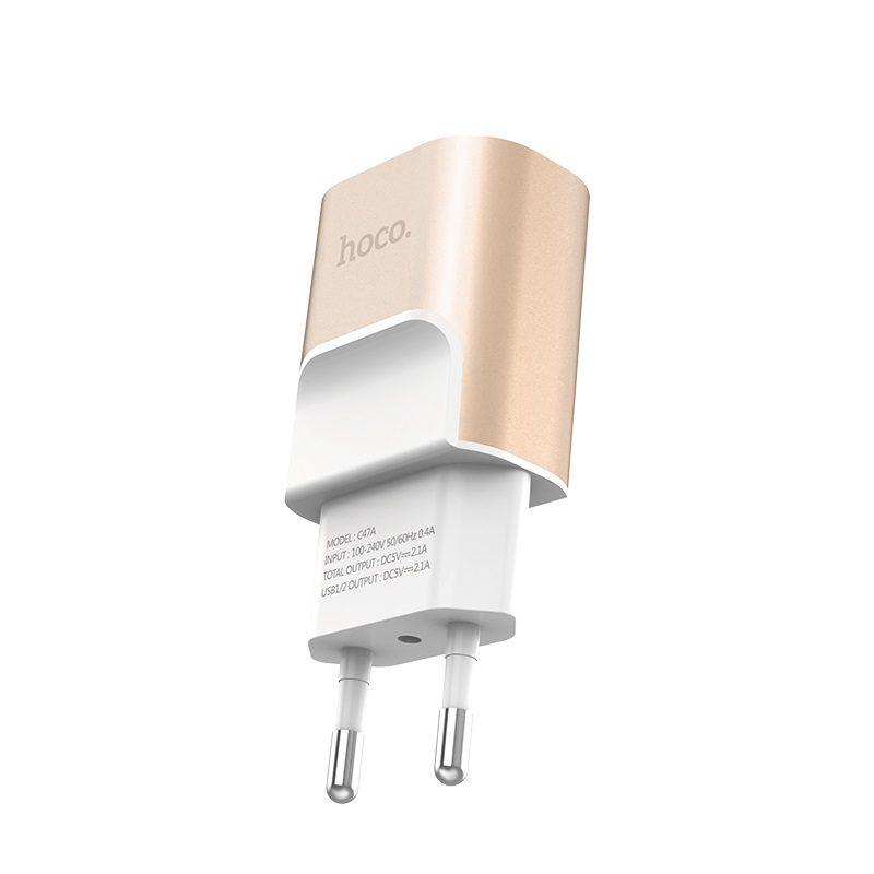 hoco c47a metal зарядное устройство с двумя usb портами eu спецификация