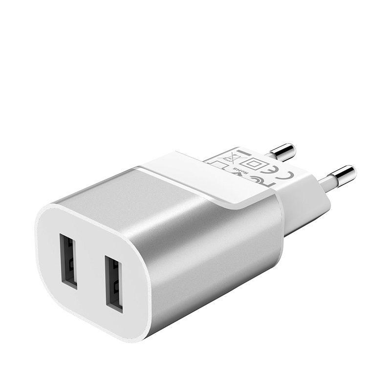 hoco c47a metal зарядное устройство с двумя usb портами eu