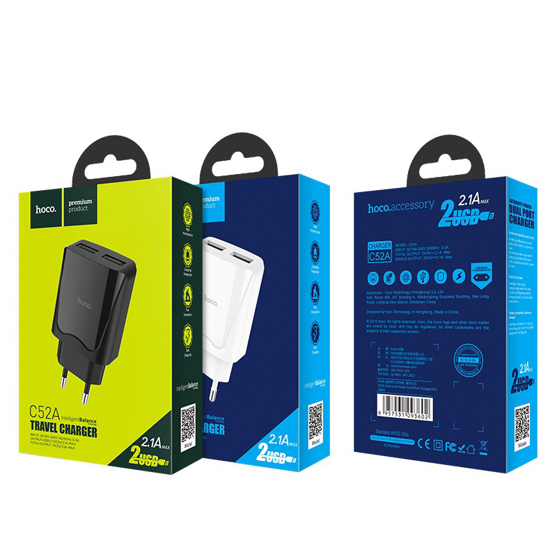 hoco c52a authority power dual port charger eu package