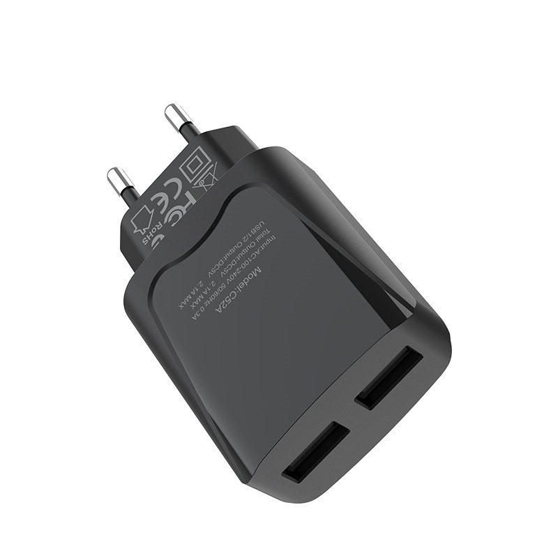 hoco c52a authority power зарядное устройство с двумя портами eu верх