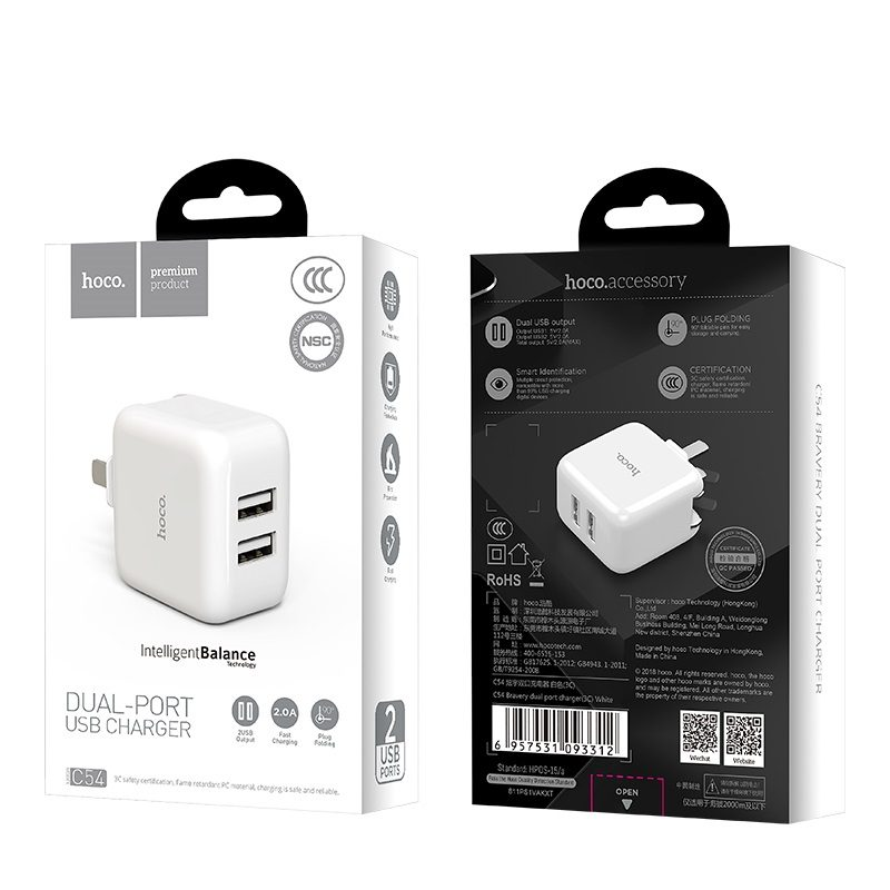 hoco c54 bravery dual port charger 3c package