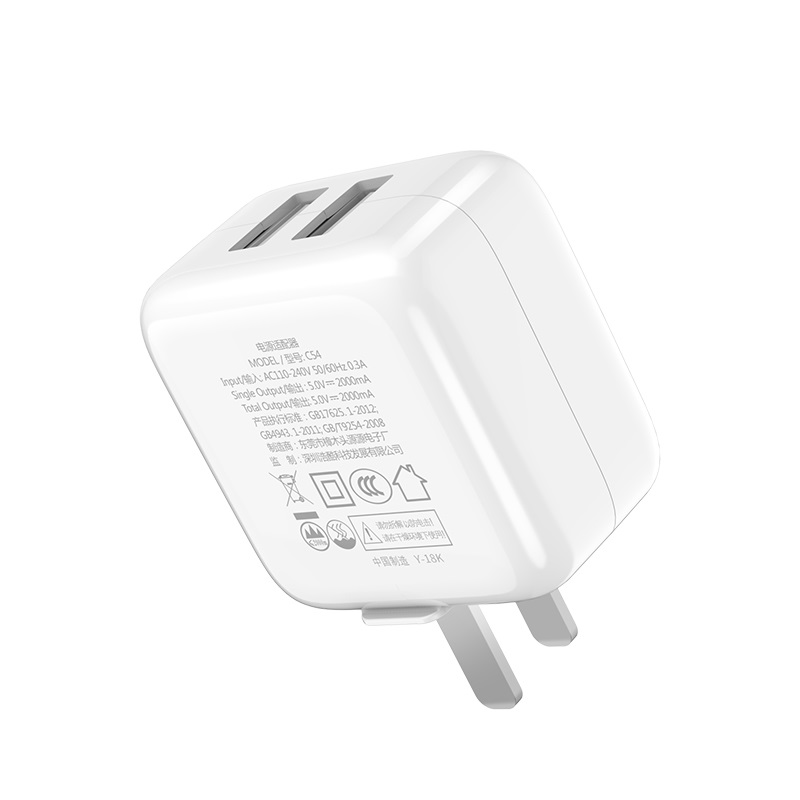 hoco c54 bravery dual port charger 3c specs