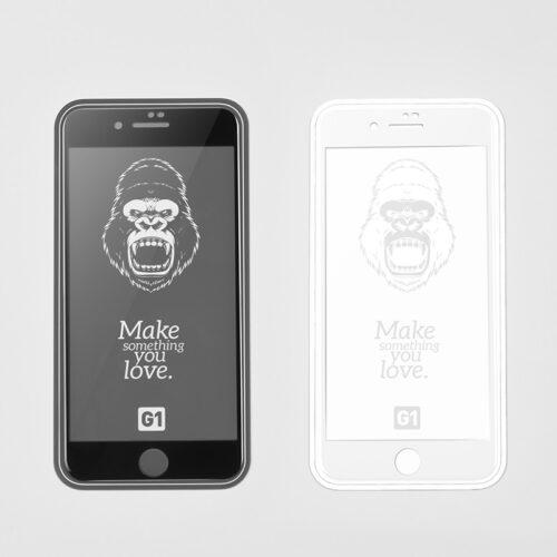 浩酷 g1 秒贴全屏丝印钢化玻璃膜 适用iphone 7 8 plus 黑白