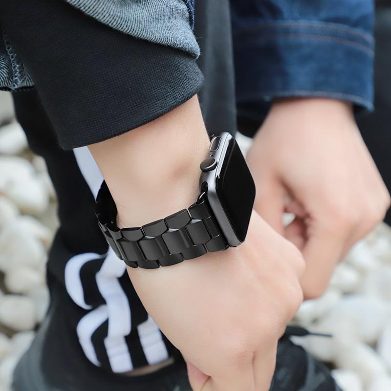 hoco wb03 apple watch series 4 3 2 1 grand steel strap 44 40 42 38mm wearing black