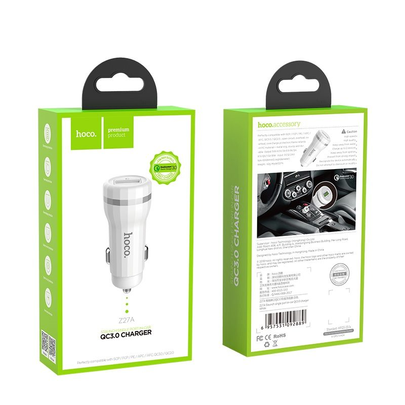 hoco z27 staunch dual port in car charger qc 3.0 package