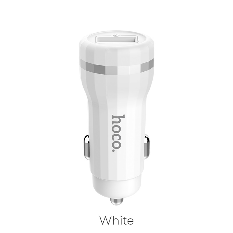 hoco z27 staunch dual port in car charger qc 3.0 white