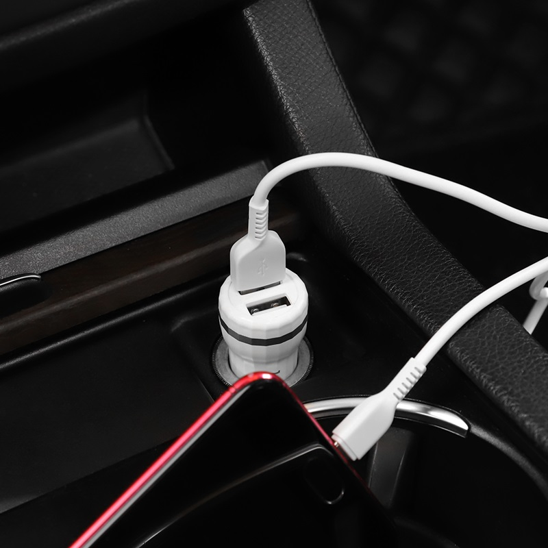 hoco z27 staunch dual port in car charger set micro usb charging