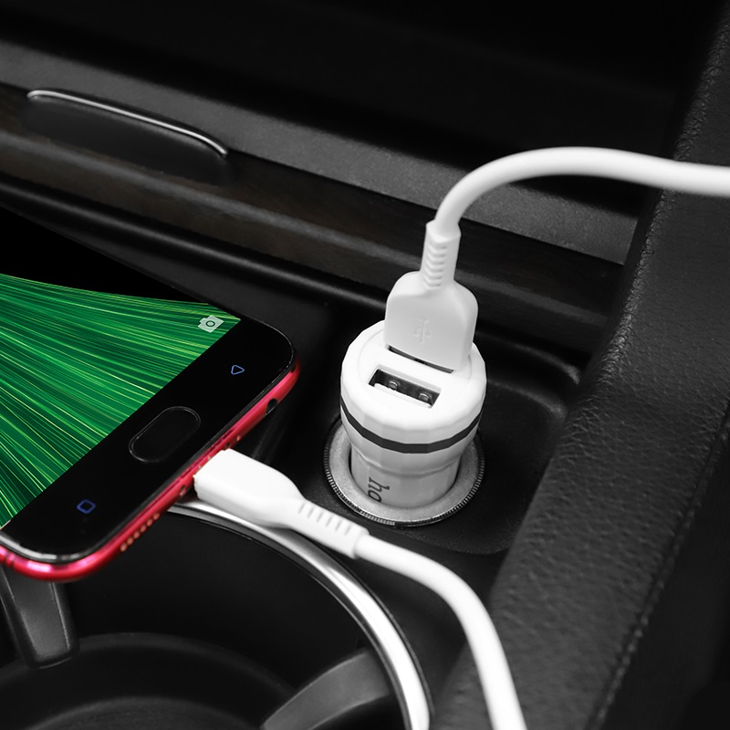 hoco z27 staunch dual port in car charger set micro usb phone