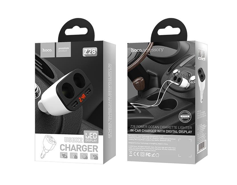 z28 power ocean cigarette lighter in car charger with digital display en 5