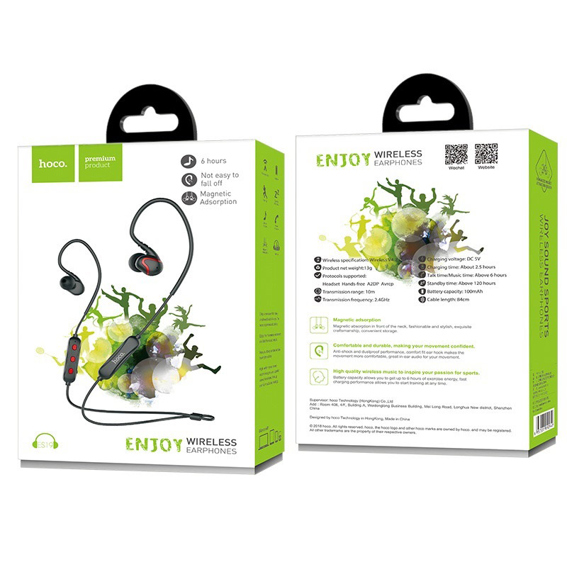 es19 joy sound sportive wireless earphones package front back
