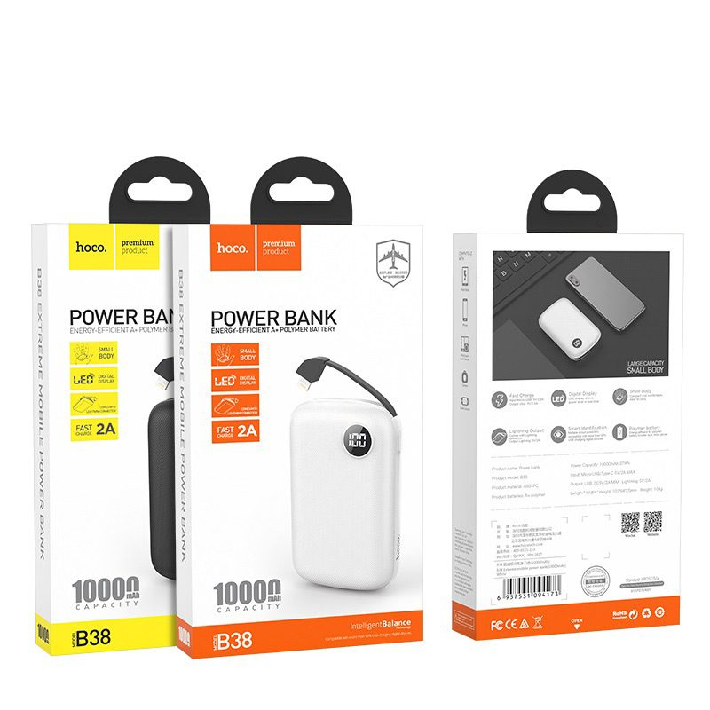 hoco b38 extreme mobile power bank 10000 mah package