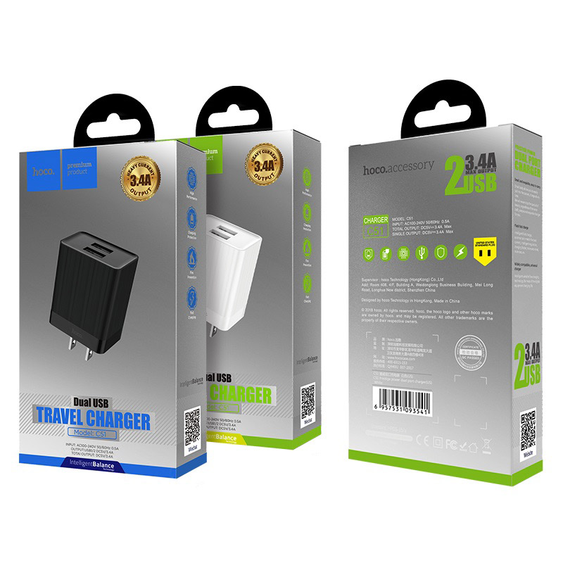hoco c51 wall charger dual usb us package