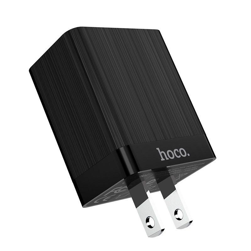 hoco c51 зарядный адаптер с двумя USB портами US штекер