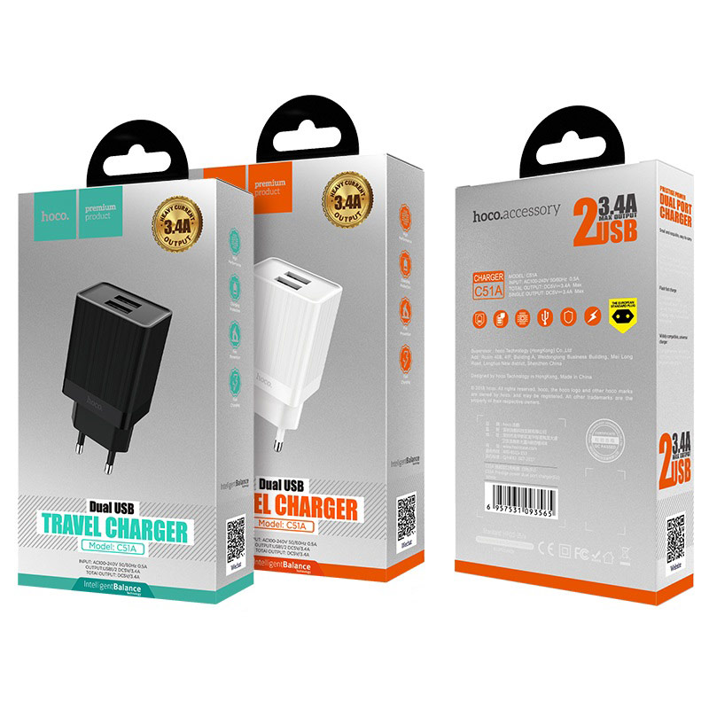 hoco c51a prestige power wall charger dual usb port eu package