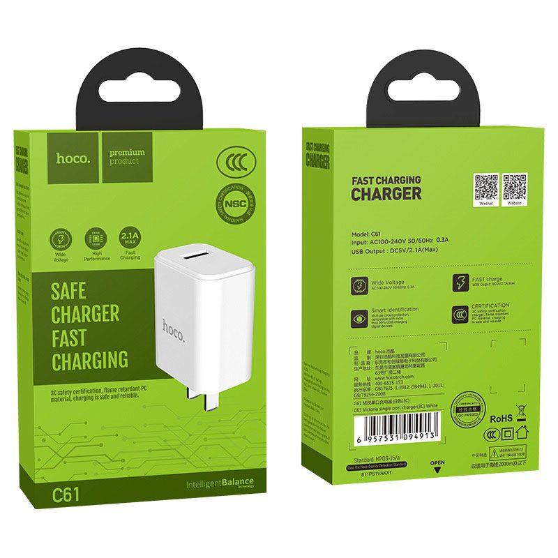 hoco c61 victoria зарядный адаптер с одним usb 3c упаковка
