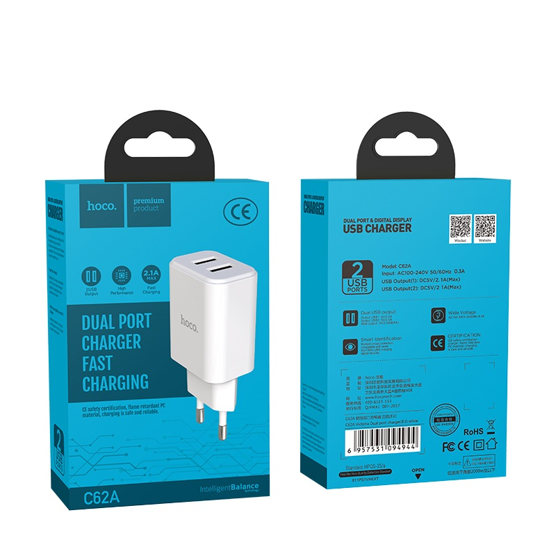 hoco c62a victoria dual port charger eu package