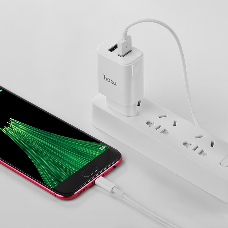 hoco c62a victoria dual port charger eu set with micro usb charging