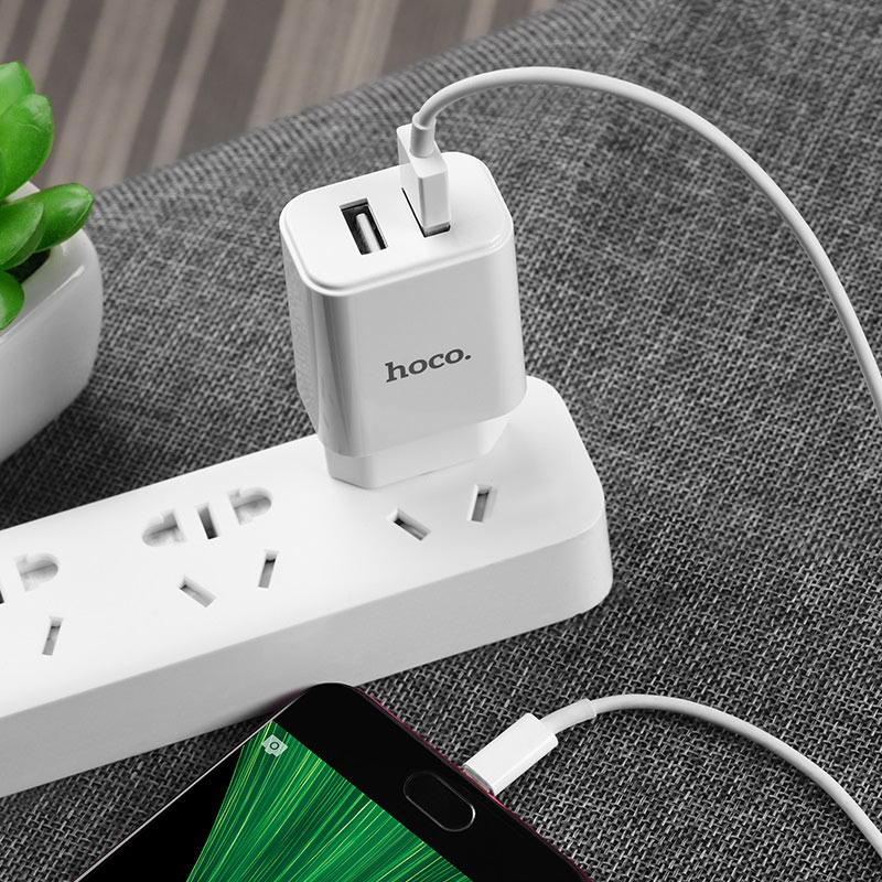 hoco c62a victoria dual port charger eu set with micro usb overview