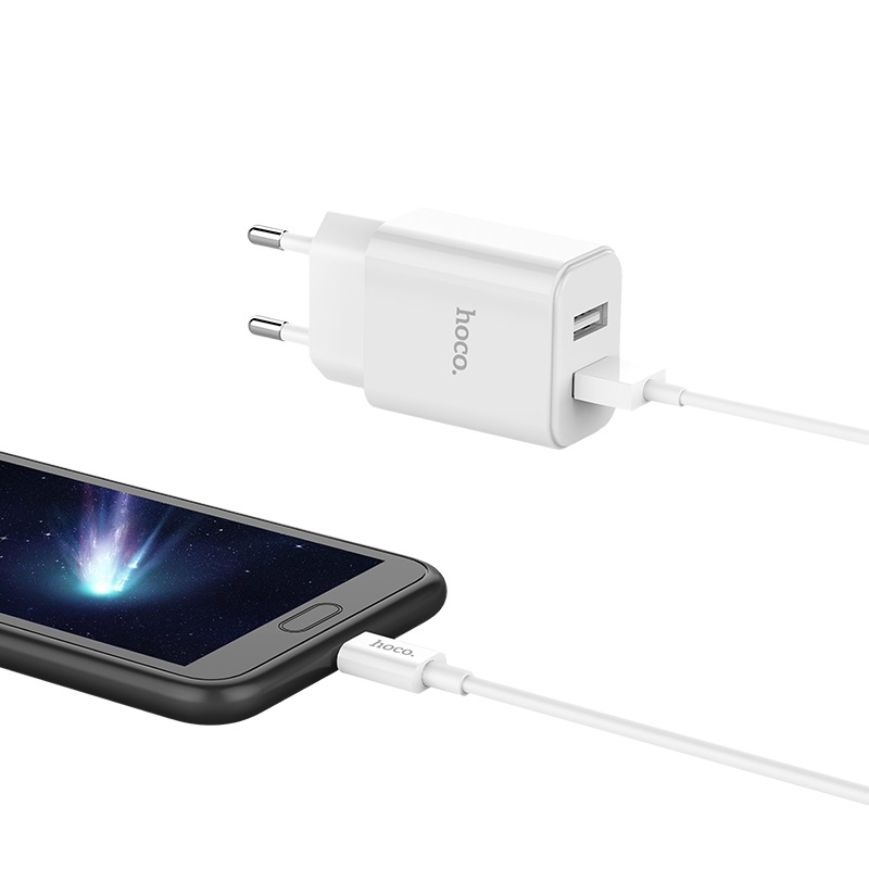 hoco c62a victoria dual port charger eu set with micro usb phone