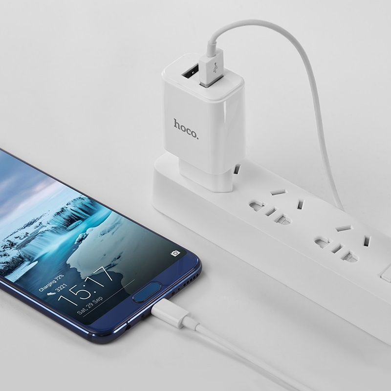hoco c62a victoria dual port charger eu set with type c charging