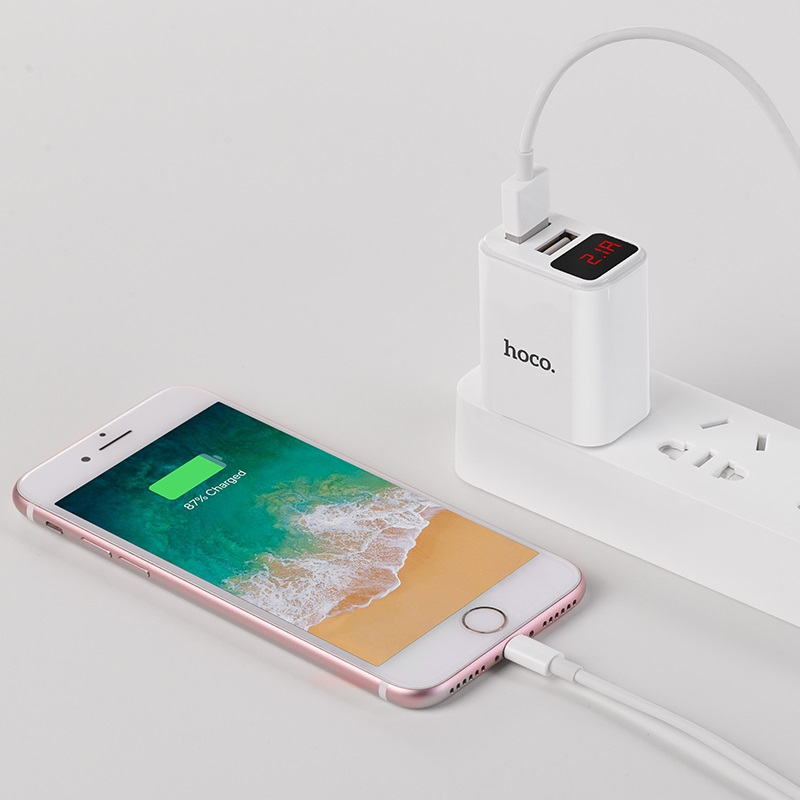 hoco c63 victoria dual port wall charger with digital display 3c charging