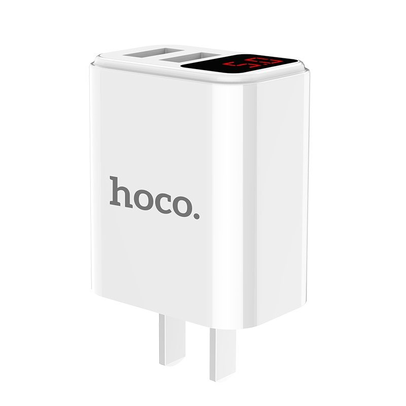 hoco c63 victoria dual port wall charger with digital display 3c overview