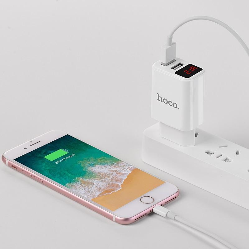 hoco c63a victoria dual port charger with digital display eu charging